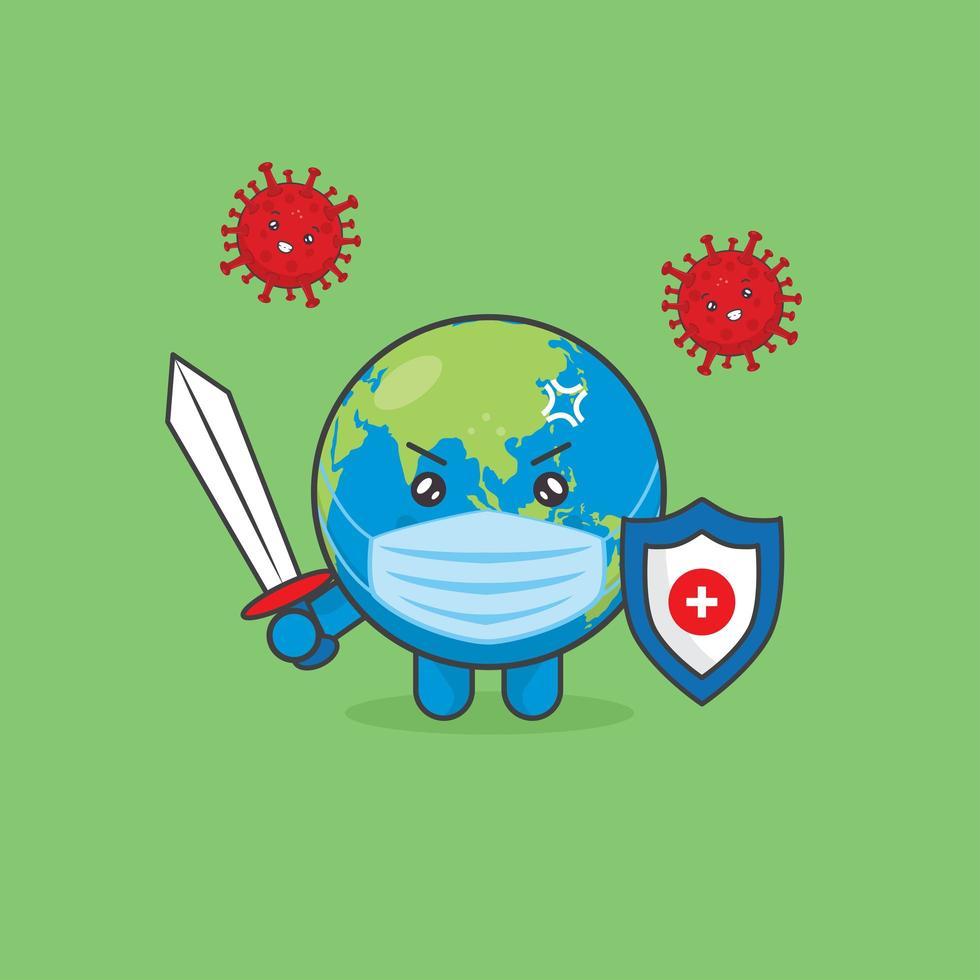 personagens fofinhos da terra lutam contra vírus com espada e escudo vetor