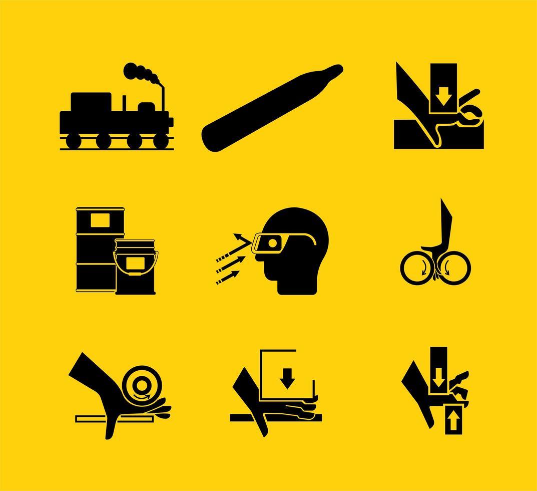 símbolos necessários de equipamento de proteção individual vetor