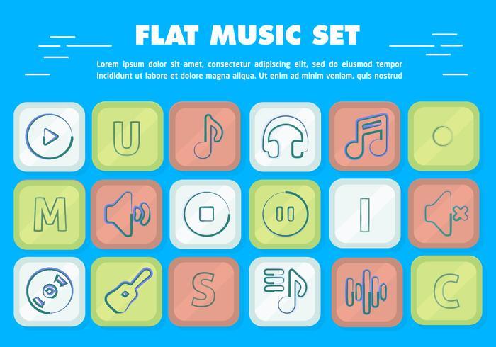 Ícones de música de vetor plana grátis