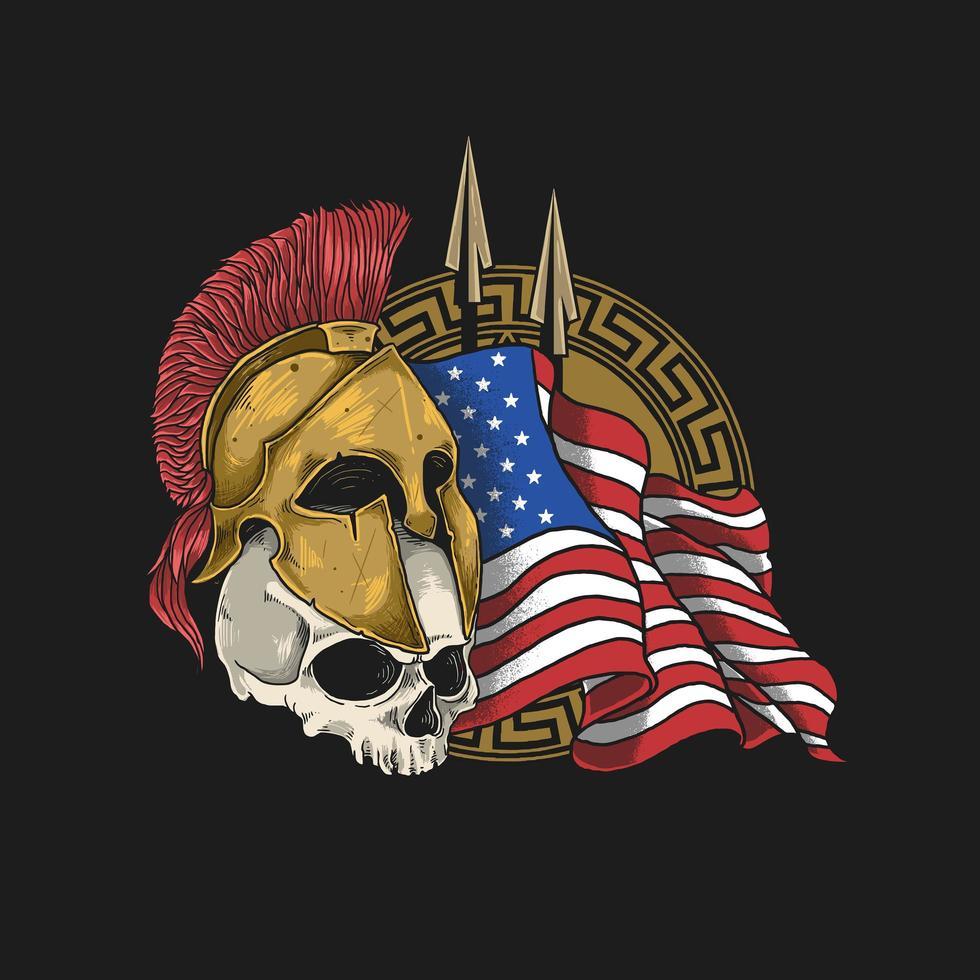 crânio usando capacete espartano com uma bandeira americana vetor