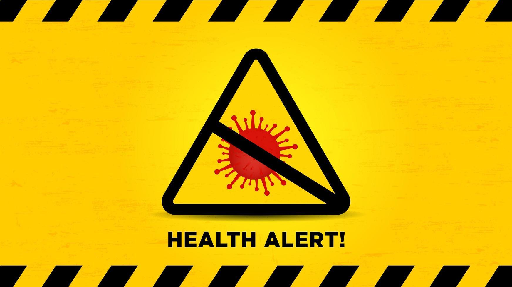 sinal de alerta de alerta de saúde com células vermelhas do vírus vetor