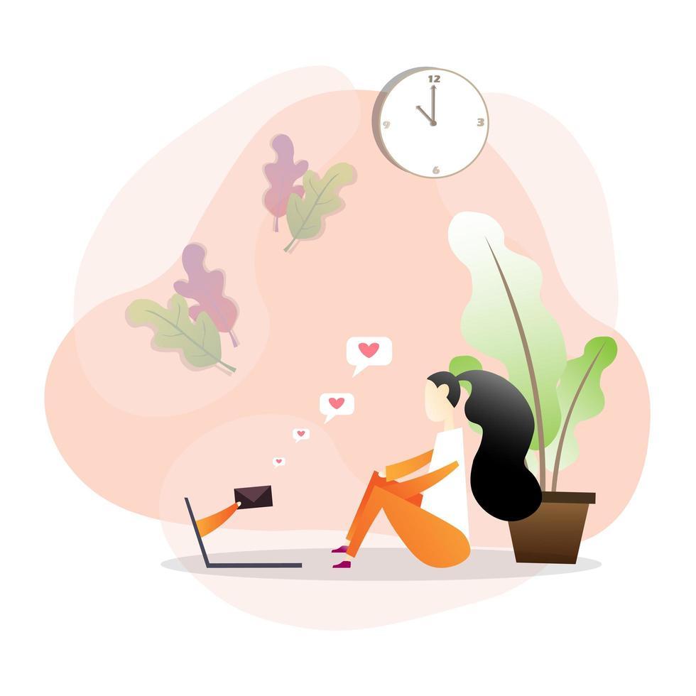 mulher sentada no chão, recebendo mensagem no laptop vetor