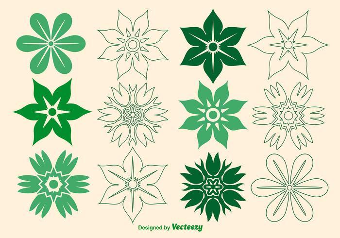 Ícones de flor de vetor