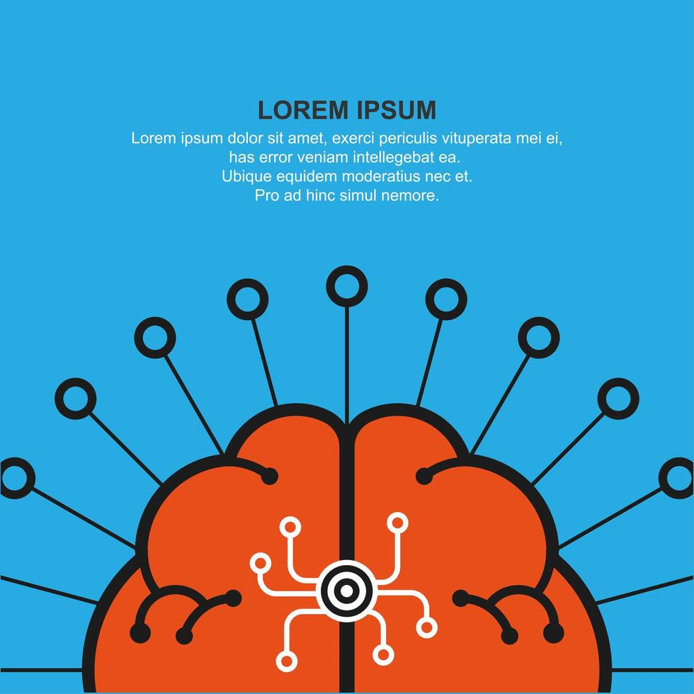 símbolo abstrato cérebro humano e copyspace vetor