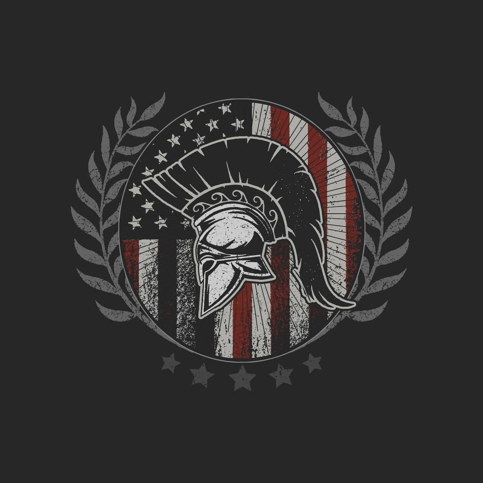 capacete de sparta no emblema da bandeira americana vetor
