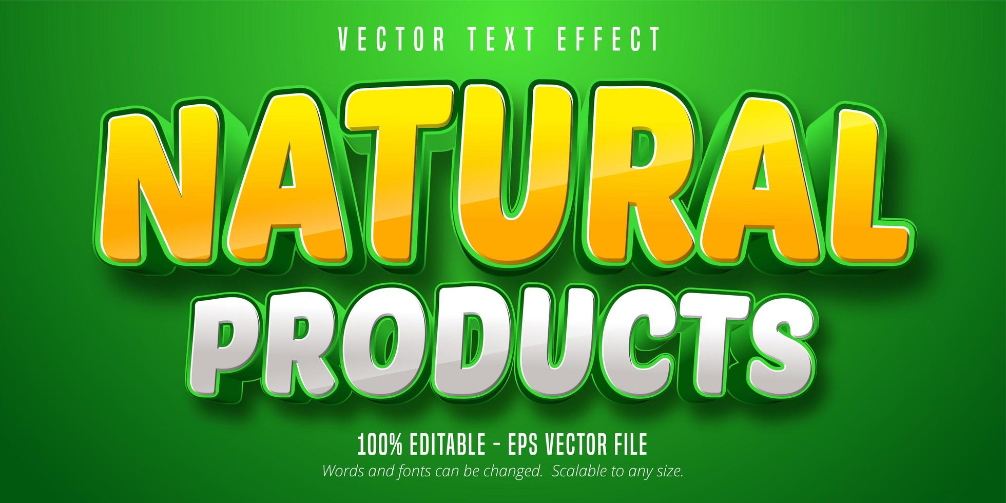 efeito de texto em amarelo e branco de produtos naturais vetor