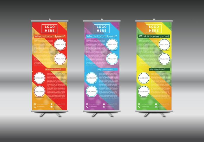 Roll Up Banner Abstract Geometric Colorful Design vetor