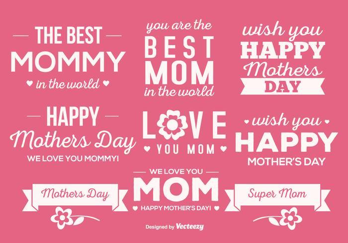 Cute Mother's Day Label Set vetor