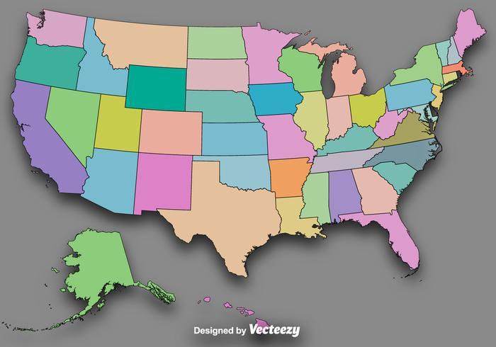 Esboços coloridos do estado do vetor / mapa vetorial dos EUA