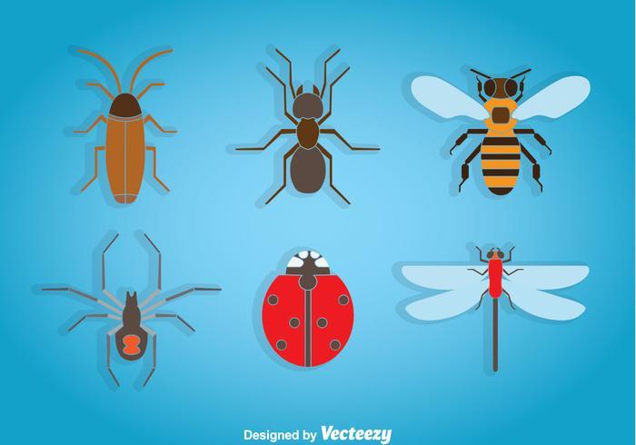 Ícones de insetos vetor