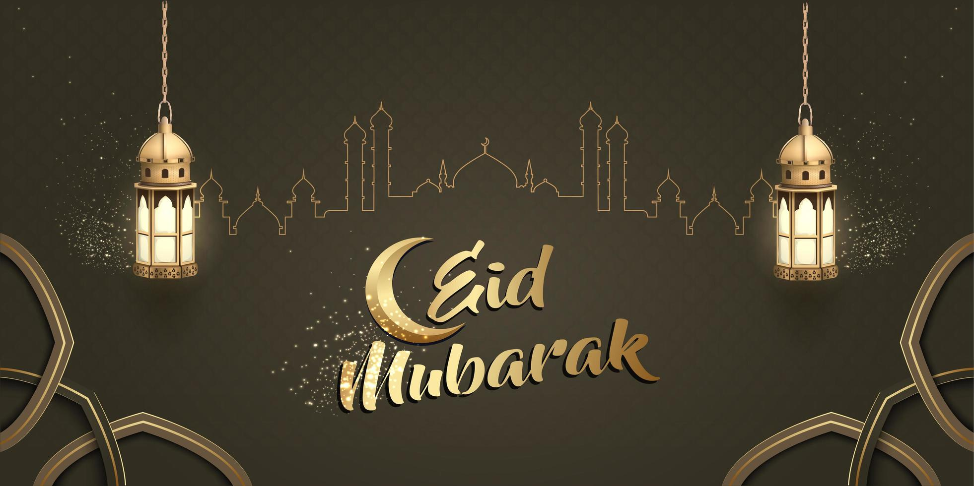 design de cartão islâmico eid mubarak vetor