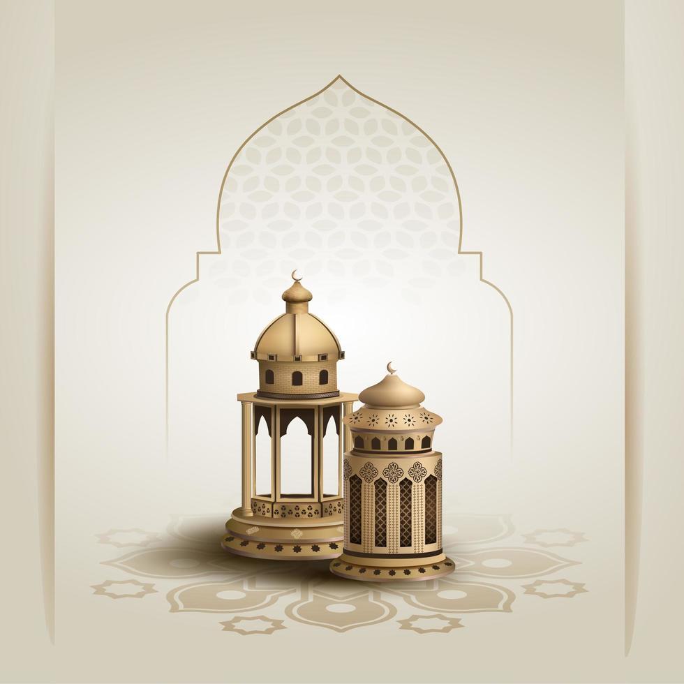 design de cartão de lanterna islâmica eid mubarak vetor