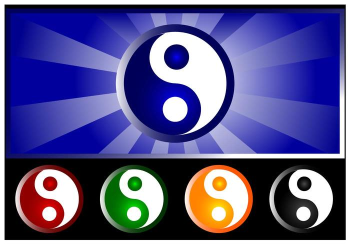 Pacote de símbolo do vetor yin yang