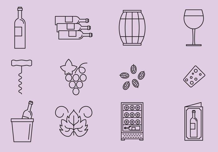Ícones de uva e vinho vetor