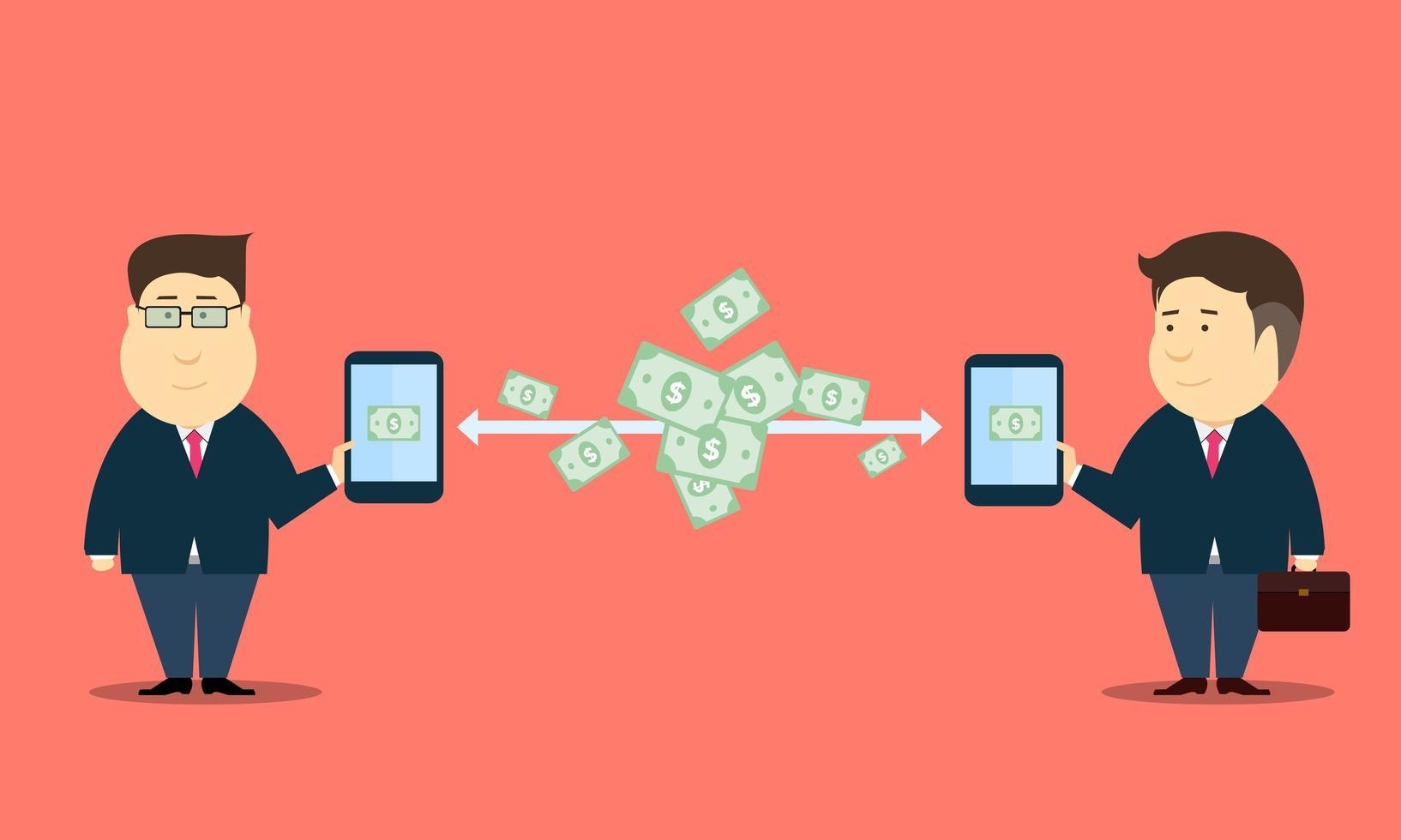 transferência de dinheiro de negócios online vetor
