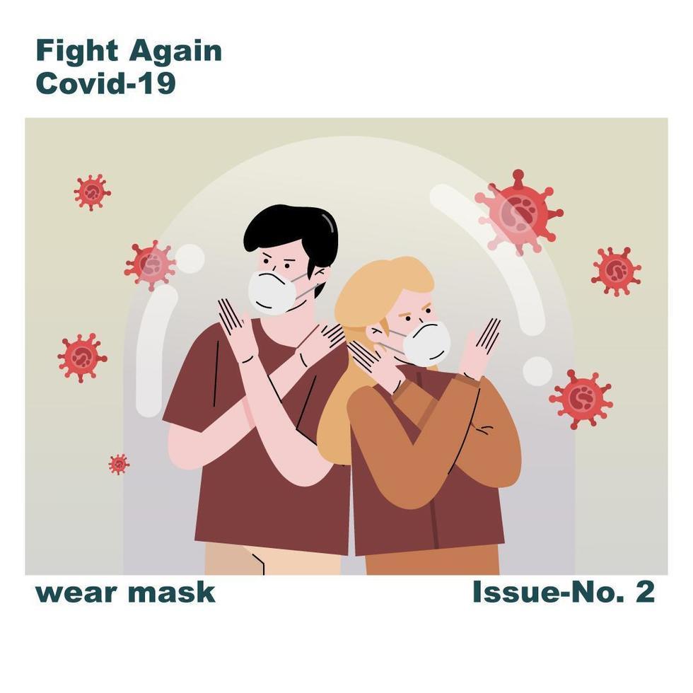 pessoas protegidas em máscaras lutando covid-19 vetor