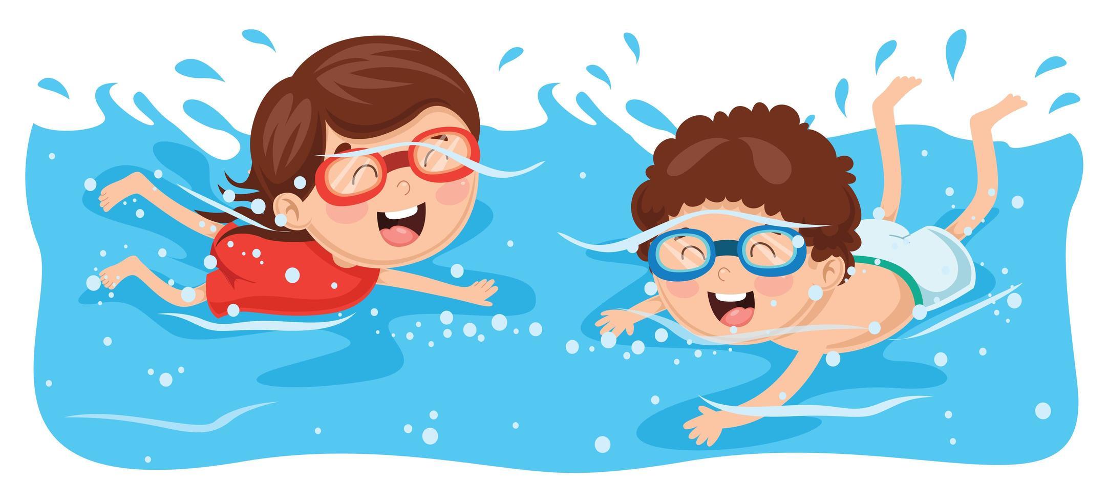 crianças nadando usando óculos vetor