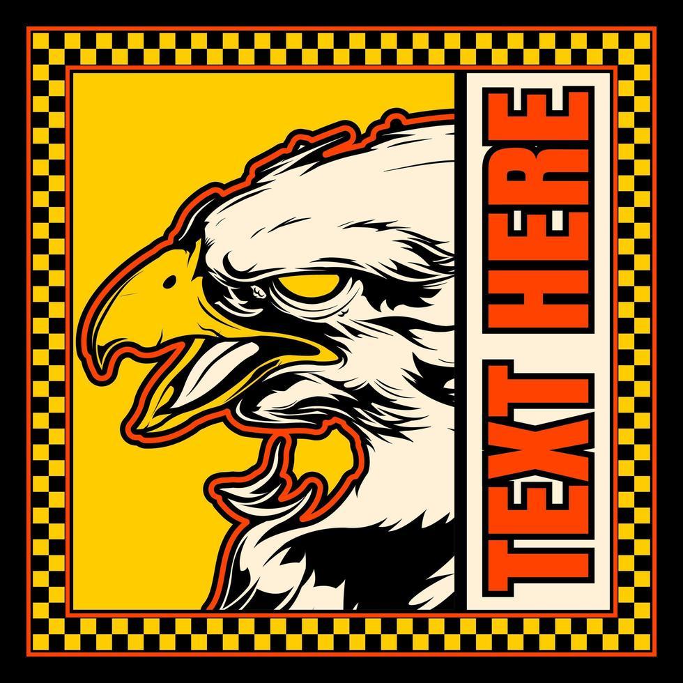 águia careca no quadro quadriculado amarelo com copyspace vetor