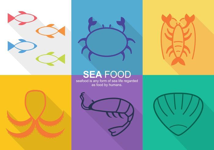 Ícones de vetor de comida do mar