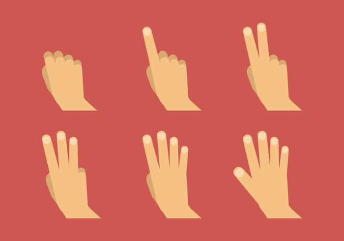 Símbolos da mão do vetor