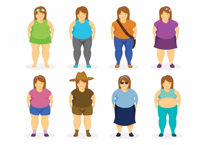 Grupo de mulheres gordas vetor