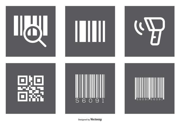 Conjunto de ícones de código de barras variado vetor