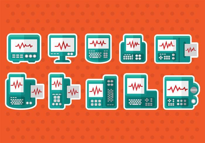Ícones do vetor do monitor cardíaco