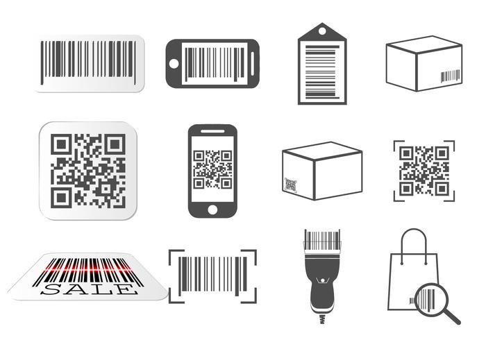 Código QR e conjunto de ícones de código de barras vetor