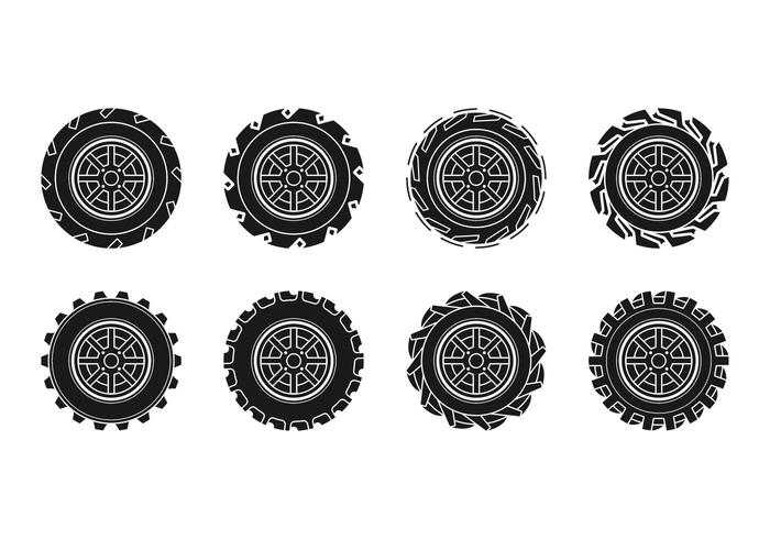 Vetor de ícone do pneu do trator livre