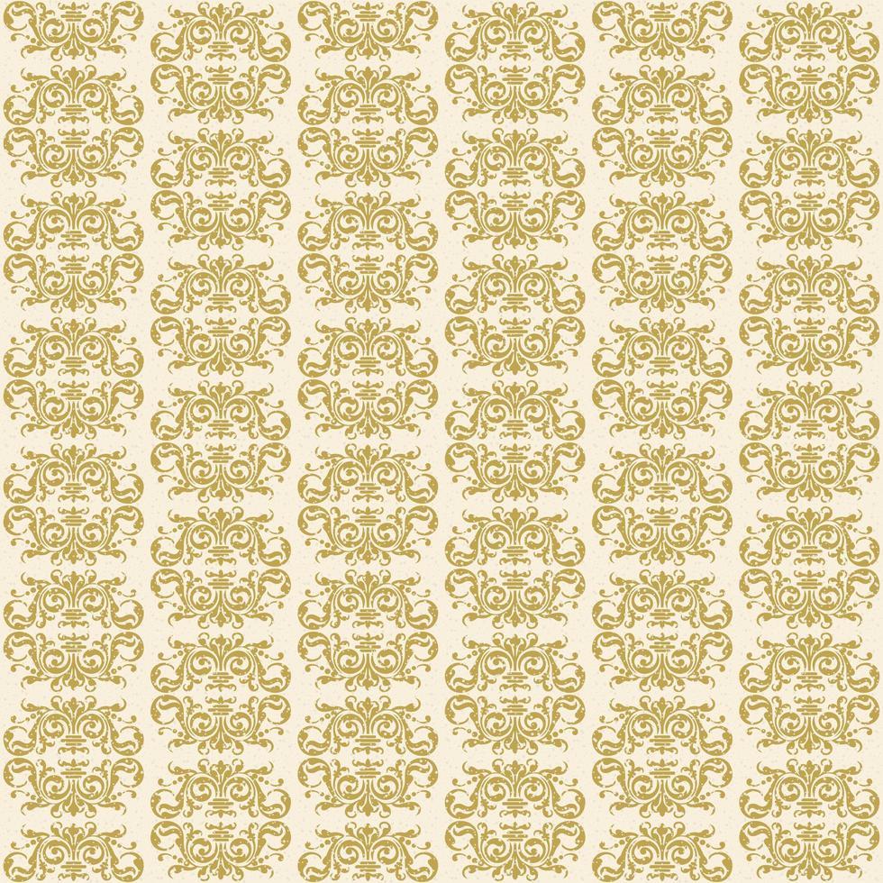 padrão sem emenda do damasco de letras grandes em ouro vetor