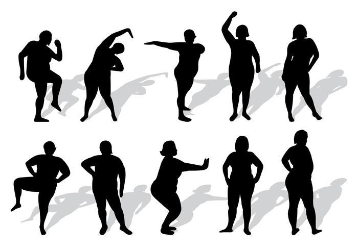Conjunto de vector de silhuetas de mulheres de tamanho maior