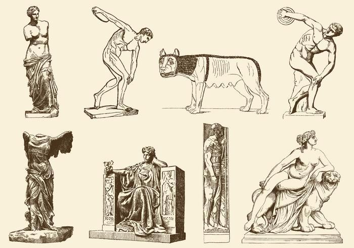 Esculturas antigas vetor