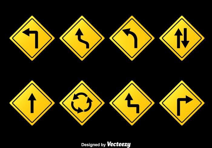Vector de coleção de sinais de estrada