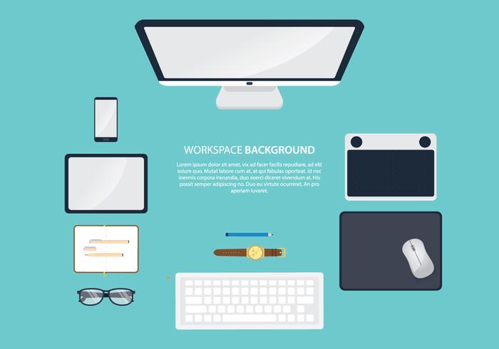 Espaço de trabalho com mouse pad vetor