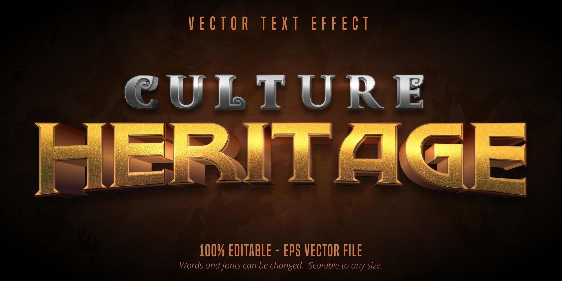 cultura herança metálico texturizado jogo estilo efeito de texto vetor