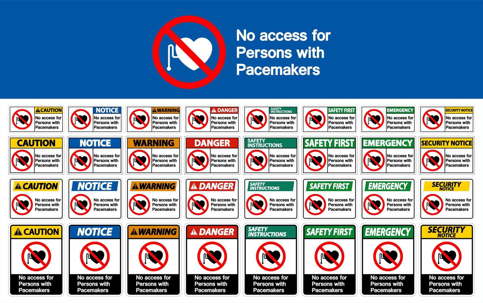 sem acesso para pessoas com sinal de marcapasso definido vetor