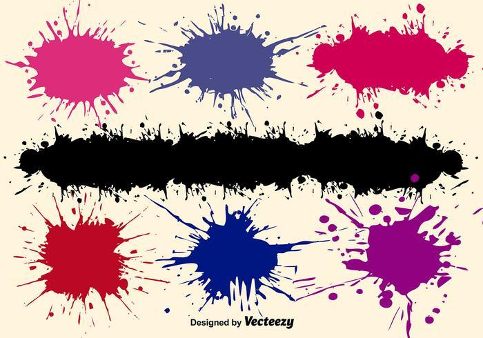 Conjunto de salpicos de pintura vetorial vetor