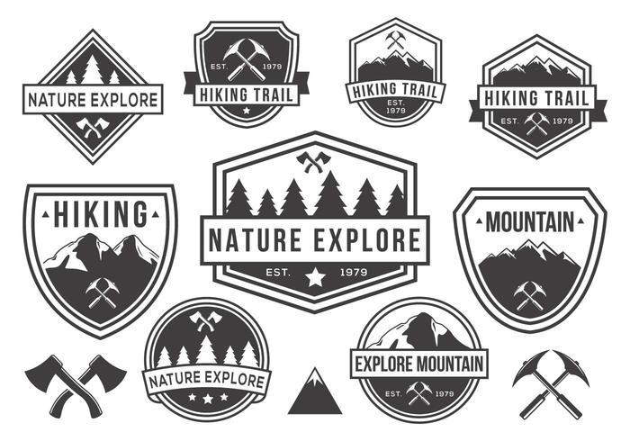 Vector de emblemas de montanha e natureza grátis em preto e branco