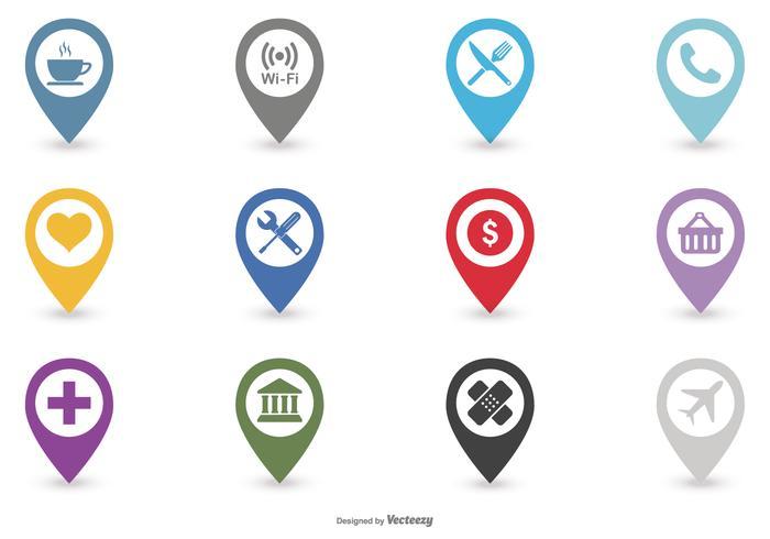 Conjunto de ícones do mapa da legenda vetor
