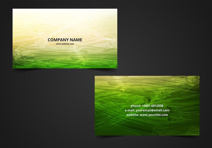 Pacote de cartão de visita verde pintado com verde grátis vetor