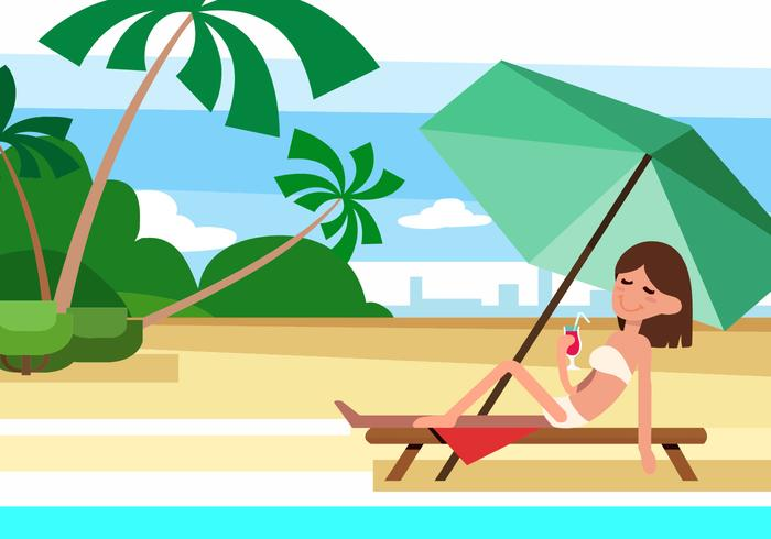 Ilustração vetorial grátis da praia do verão com caráter vetor