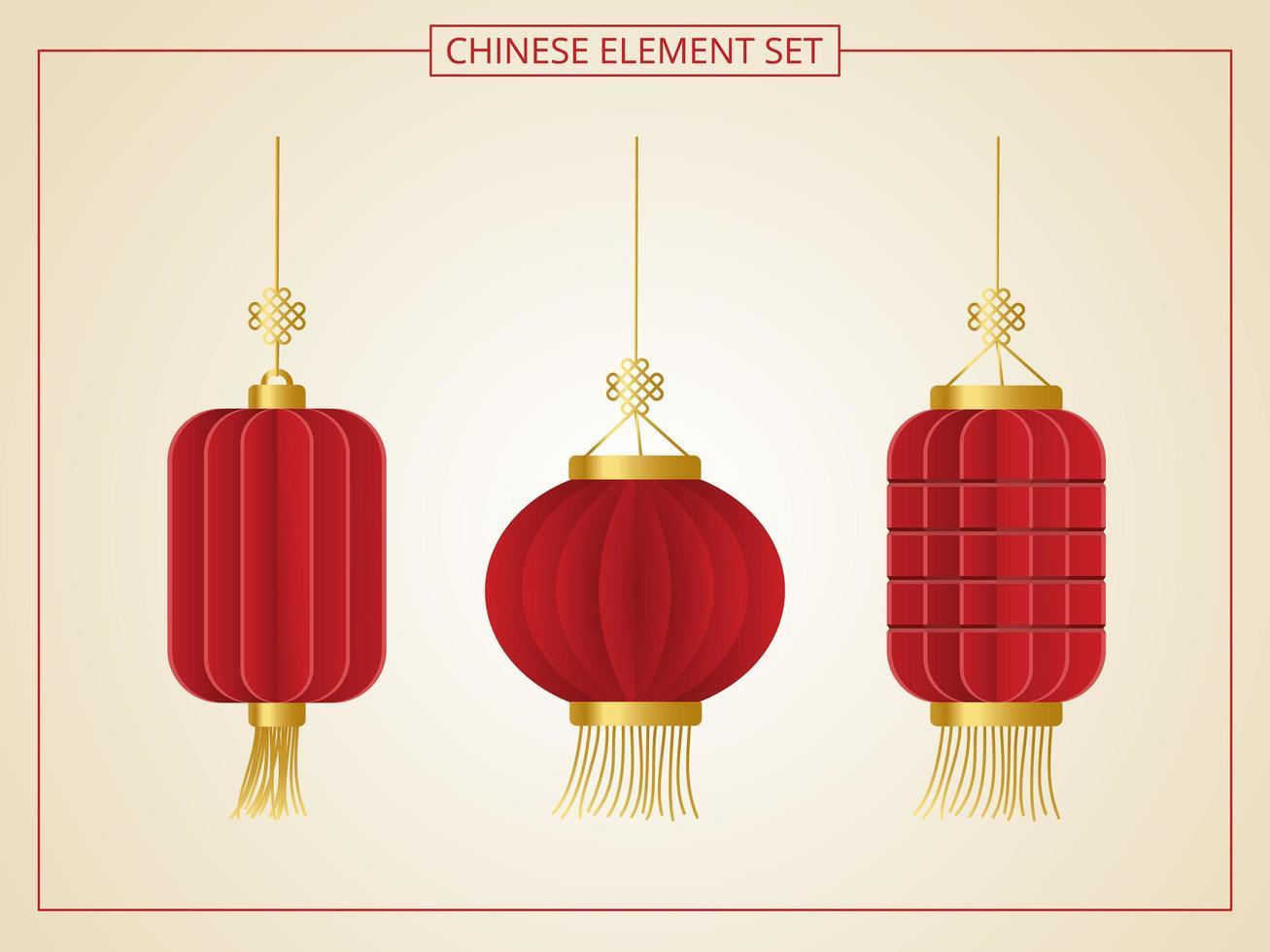 elemento de lanterna chinesa vetor