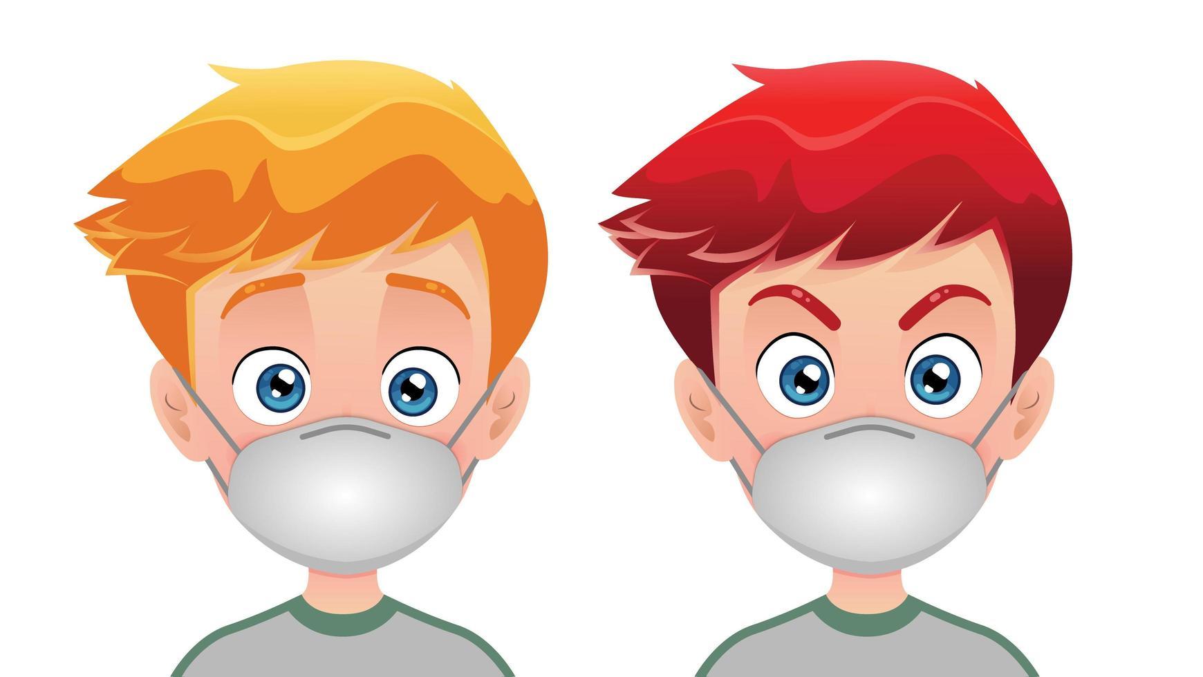 meninos vestindo máscara cirúrgica vetor