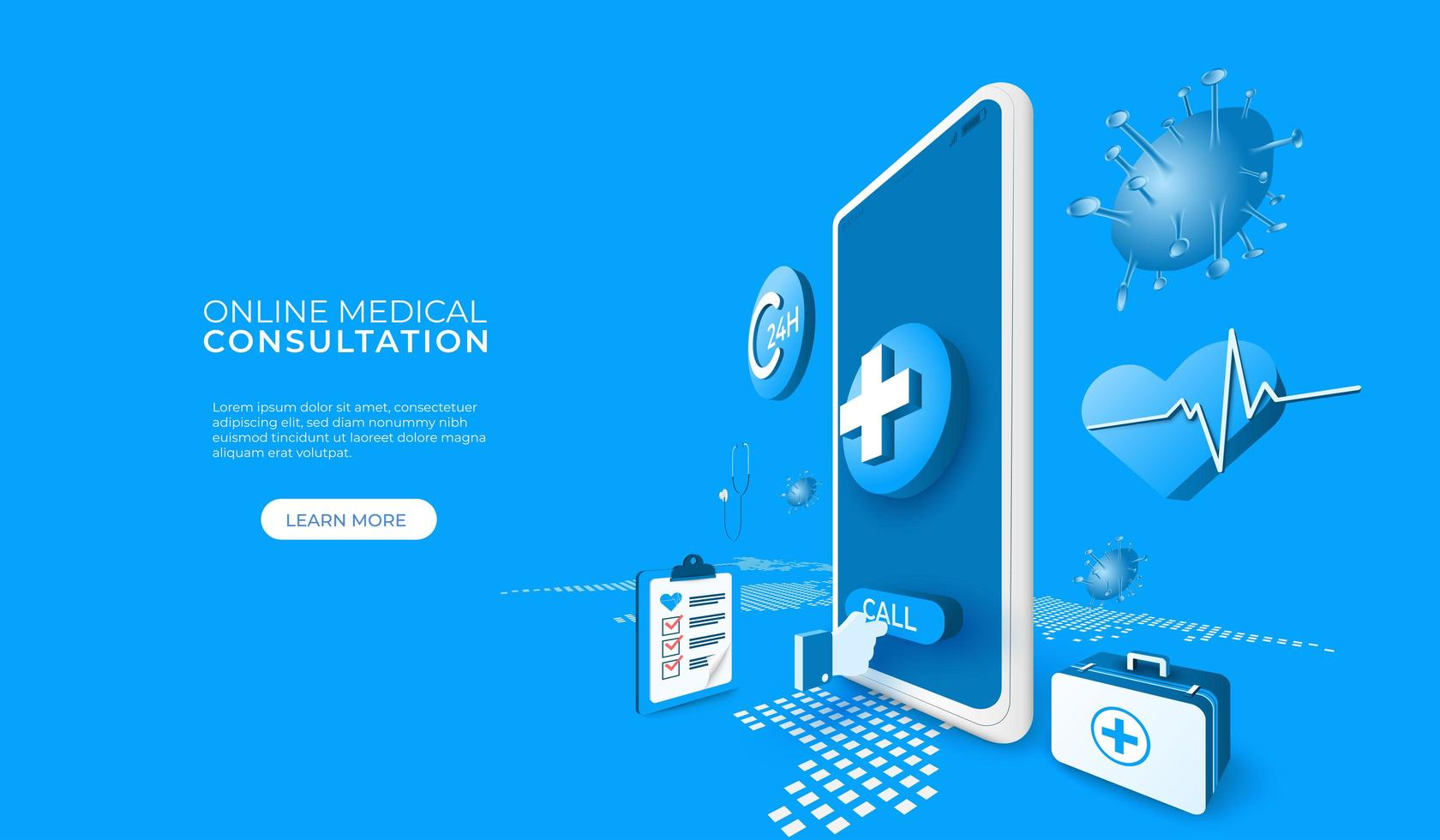 consulta médica on-line por telefone ou tablet vetor
