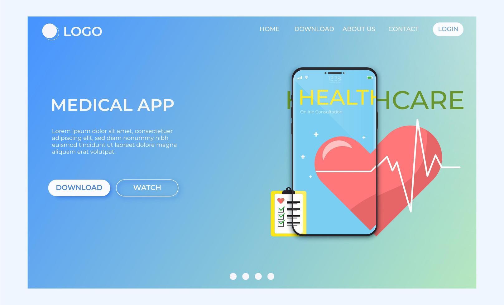 conceito de aplicativo de cuidados médicos de página de destino vetor