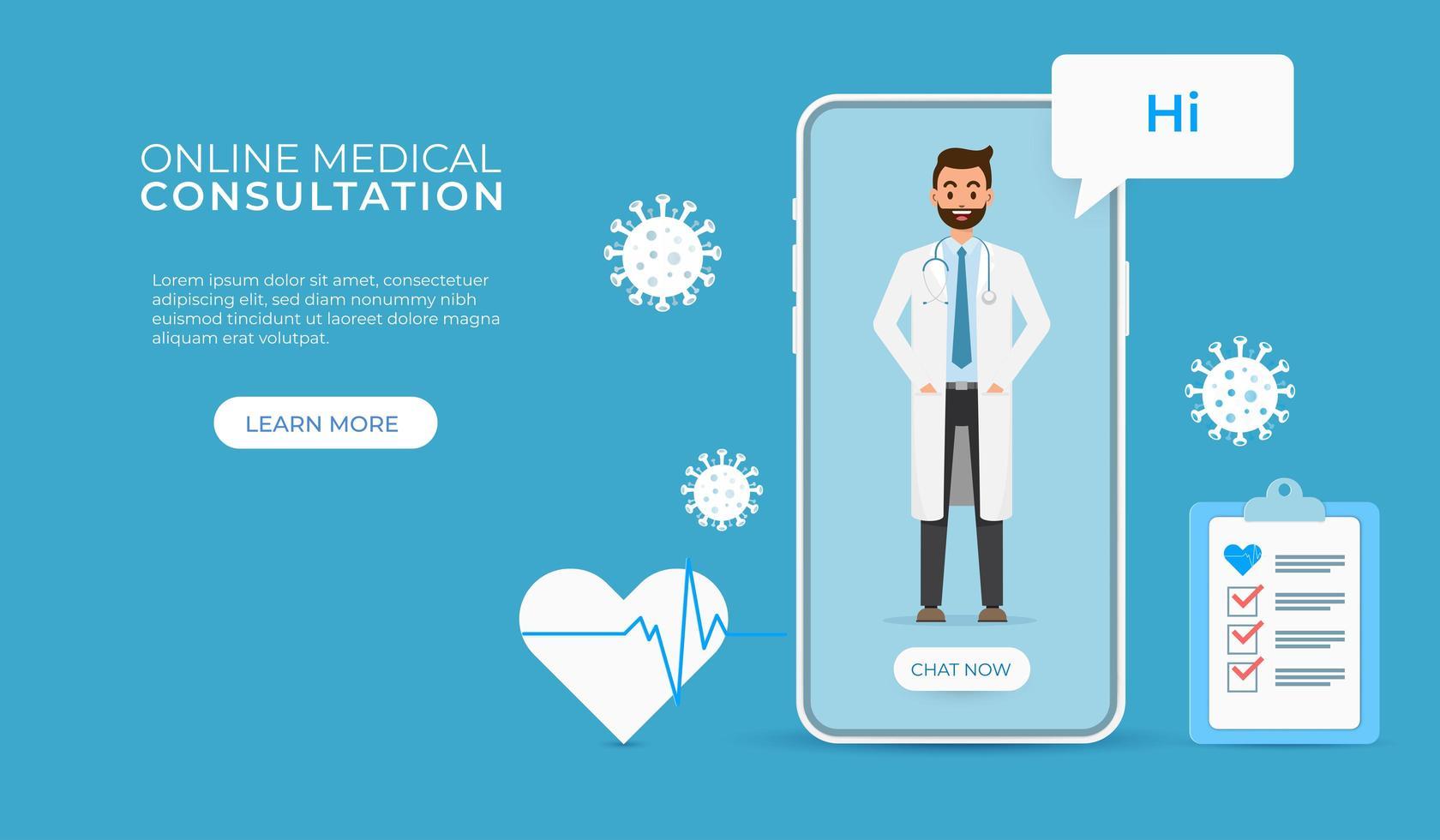 consulta on-line com o conceito de tecnologia de aplicativo móvel de médico vetor
