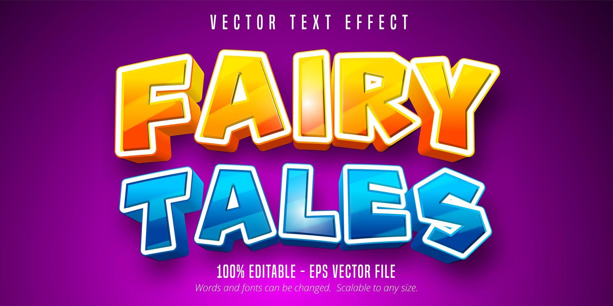 efeito de texto azul e laranja brilhante de contos de fadas vetor