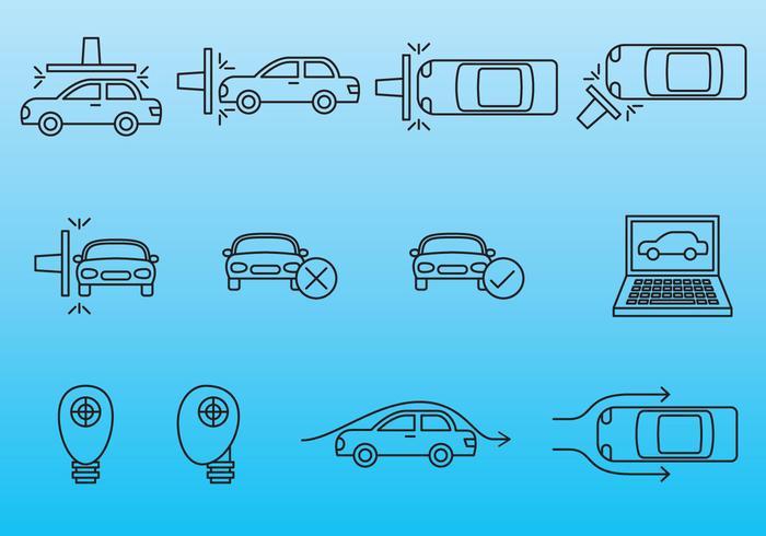 Ícones de teste de carro vetor