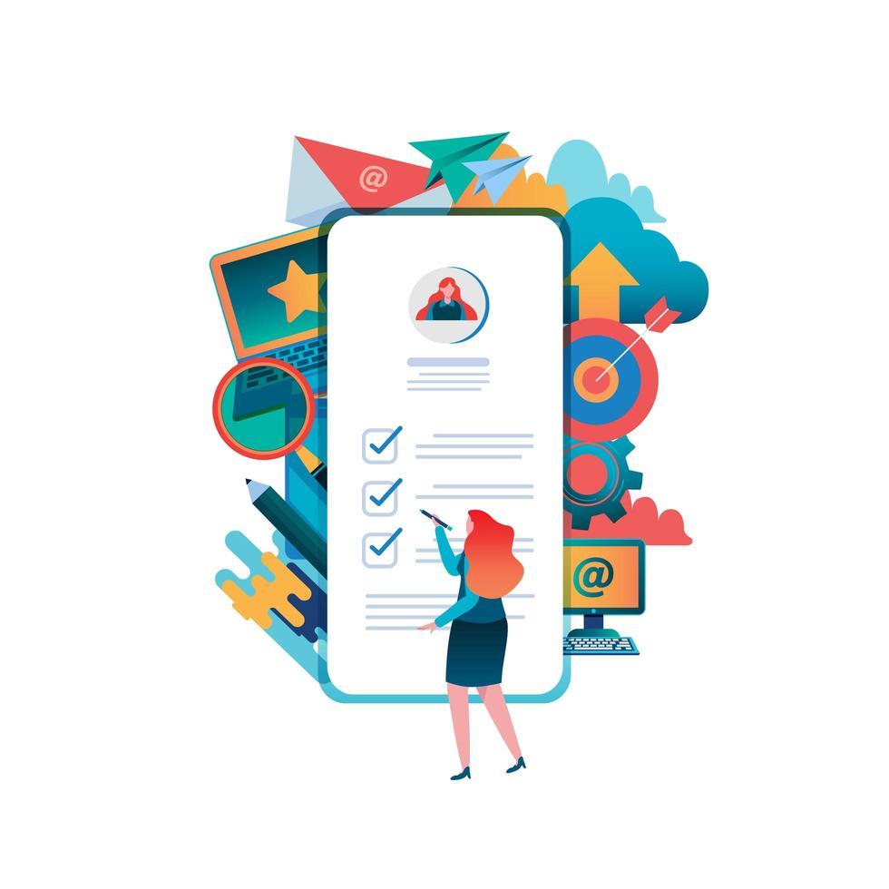 mulher preenchendo formulário no smartphone vetor