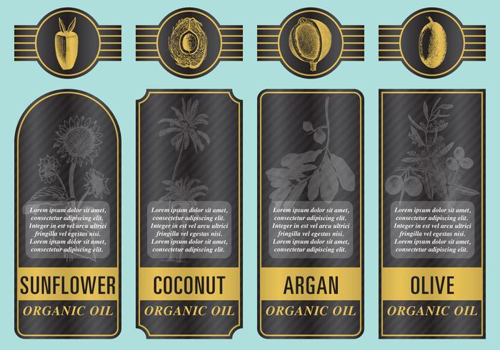 Etiquetas de óleo orgânico vetor